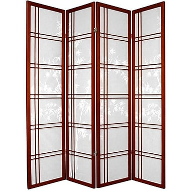 Oriental Furniture 72'' x 56'' Bamboo Tree Double Cross Shoji 4 Panel Room Divider; Rosewood