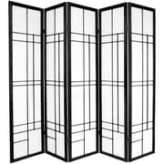 Oriental Furniture Eudes 5 Paned Room Divider; Black