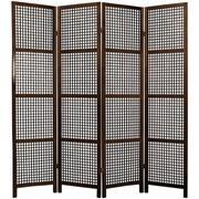 Oriental Furniture 72'' x 56'' Miyagi Shoji 4 Panel Room Divider; Walnut