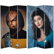 Oriental Furniture 71'' x 47.25'' Star Trek Tall Double Sided Worf and Troi 3 Panel Room Divider