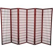 Oriental Furniture 60'' x 84'' Window Pane Shoji 6 Panel Room Divider; Rosewood