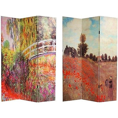 Oriental Furniture 70.88'' x 47.25'' Works of Monet 3 Panel Room Divider