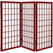 Oriental Furniture 35.75'' x 43'' Window Pane Shoji 3 Panel Room Divider; Rosewood