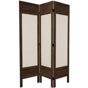 Oriental Furniture 67'' x 51.75'' Solid Frame Fabric 3 Panel Room Divider; Brown