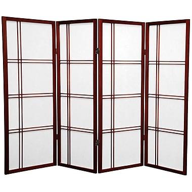 Oriental Furniture 48'' x 57'' Double Cross Shoji 4 Panel Room Divider; Rosewood