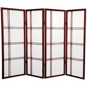 Oriental Furniture 48'' Double Cross Shoji Screen 4 Panel Room Divider; Rosewood