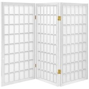 Oriental Furniture 60'' x 42'' Window Pane Shoji 3 Panel Room Divider; White