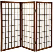 Oriental Furniture 35.75'' x 43'' Window Pane Shoji 3 Panel Room Divider; Walnut
