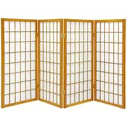 Oriental Furniture 60'' x 56'' Window Pane Shoji 4 Panel Room Divider; Honey