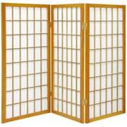 Oriental Furniture 35.75'' x 43'' Window Pane Shoji 3 Panel Room Divider; Honey