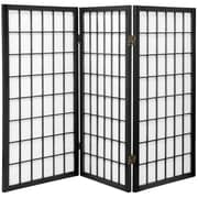 Oriental Furniture 35.75'' x 43'' Window Pane Shoji 3 Panel Room Divider; Black