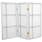Oriental Furniture 35.75'' x 43'' Double Cross Shoji 3 Panel Room Divider; White