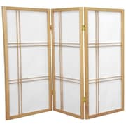 Oriental Furniture 35.75'' x 43'' Double Cross Shoji 3 Panel Room Divider; Natural