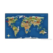 Carpets for Kids Printed Continental Wonders Blue Area Rug; 7' x 12'
