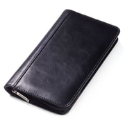 Clava Leather Glazed Leather Passport Travel Wallet; Glazed Black