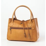 Clava Leather Tassel Tote Bag; Tan