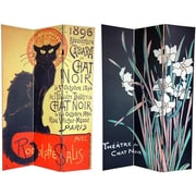 Oriental Furniture 72'' x 48'' Double Sided Chat Noir 3 Panel Room Divider