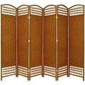 Oriental Furniture 67'' Tall Fiber Weave 6 Panel Room Divider; Dark Beige