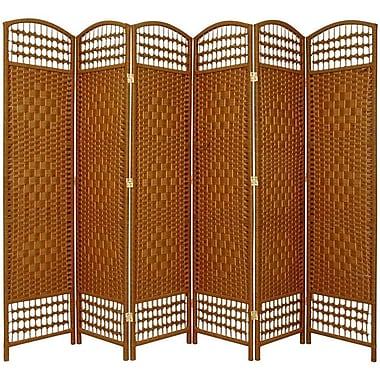 Oriental Furniture 67'' x 76'' Weave 6 Panel Room Divider; Dark Beige