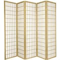 Oriental Furniture 70'' x 70'' Window Pane Shoji 5 Panel Room Divider; Gold