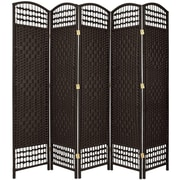 Oriental Furniture 67'' Tall Fiber Weave 5 Panel Room Divider; Black