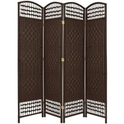 Oriental Furniture 67'' Tall Fiber Weave 4 Panel Room Divider; Dark Mocha