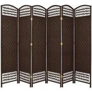 Oriental Furniture 67'' Tall Fiber Weave 6 Panel Room Divider; Dark Mocha