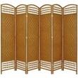 Oriental Furniture 67'' Tall Fiber Weave 6 Panel Room Divider; Light Beige