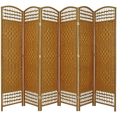 Oriental Furniture 67'' x 76'' Weave 6 Panel Room Divider; Light Beige