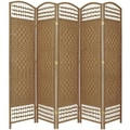 Oriental Furniture 67'' Tall Fiber Weave 5 Panel Room Divider; Natural