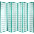 Oriental Furniture 70'' x 84'' Window Pane Shoji 6 Panel Room Divider; Green