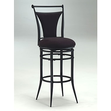 Hillsdale Cierra 26'' Swivel Bar Stool with Cushion; Black