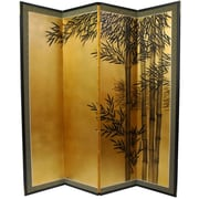Oriental Furniture 69.5'' x 67'' Gold Leaf Bamboo 4 Panel Room Divider