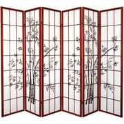 Oriental Furniture 70.25'' x 85'' Lucky Bamboo 6 Panel Room Divider; Rosewood