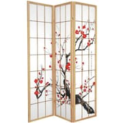 Oriental Furniture 70.25'' x 42'' Bamboo Blossom 3 Panel Room Divider; Natural