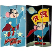 Oriental Furniture 71'' x 47.25'' Tall Double Sided Mighty Mouse 3 Panel Room Divider