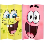 Oriental Furniture 71'' x 47.25'' Tall Double Sided SpongeBob 3 Panel Room Divider