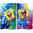 Oriental Furniture 71'' x 47.25'' Tall Double Sided SpongeBob SquarePants 3 Panel Room Divider