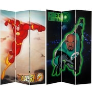 Oriental Furniture 71'' x 47.25'' Tall Double Sided Green Lantern and The Flash 3 Panel Room Divider