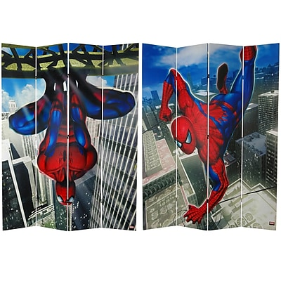 Oriental Furniture 84'' x 68'' Tall Double Sided Spider-Man Wall Crawler 4 Panel Room Divider WYF078275692961