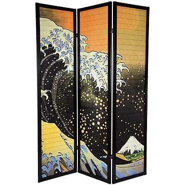Oriental Furniture 70.75'' x 52.5'' Japanese Tall Wave Shoji 3 Panel Room Divider
