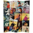 Oriental Furniture 71'' x 63'' Elvis Presley Tall Double Sided Album Covers 4 Panel Room Divider