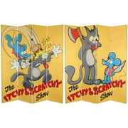 Oriental Furniture 71'' x 63'' Tall Double Sided Itchy and Scratchy 4 Panel Room Divider