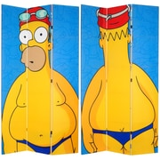 Oriental Furniture 84'' x 51'' Tall Double Sided Swimsuit Homer 3 Panel Room Divider
