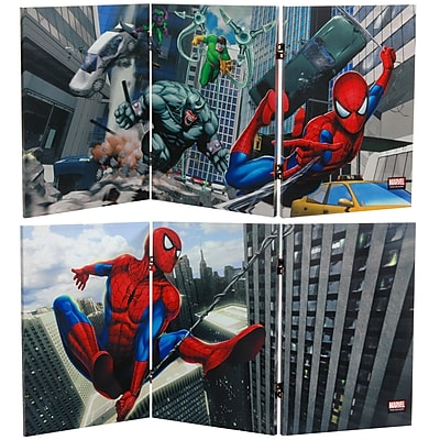 23.75'' 47.25'' Tall Double Sided Friendly Neighborhood Spider-Man 3 Panel Room Divider WYF078275694548