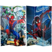 Oriental Furniture 71'' x 47.25'' Tall Double Sided Spider-Man Rogue's Gallery 3 Panel Room Divider