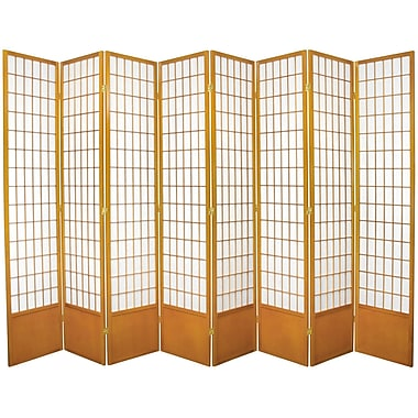 Oriental Furniture 83.5'' x 112'' Window Tall Pane Shoji 8 Room Divider; Honey