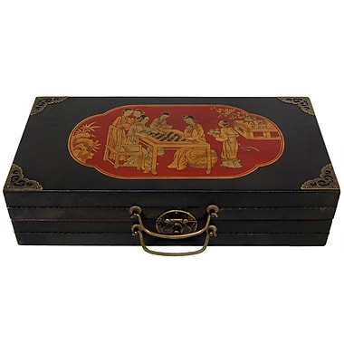 Oriental Furniture Chess Set Box in Black Lacquer