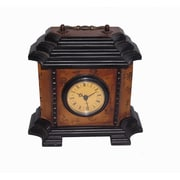 Oriental Furniture Square Pagoda Top Calligraphy Clock in Brown