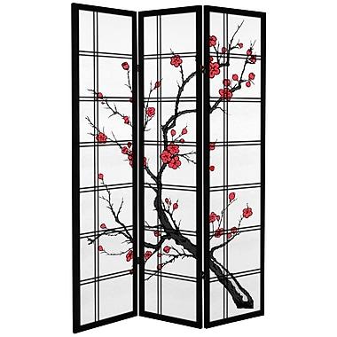 Oriental Furniture 71'' x 47.25'' Tall Blossom 3 Panel Room Divider; Black